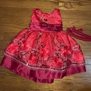 RED SEQUIN BOW TIE BACK FESTIVE DRESS 18 MONTHS